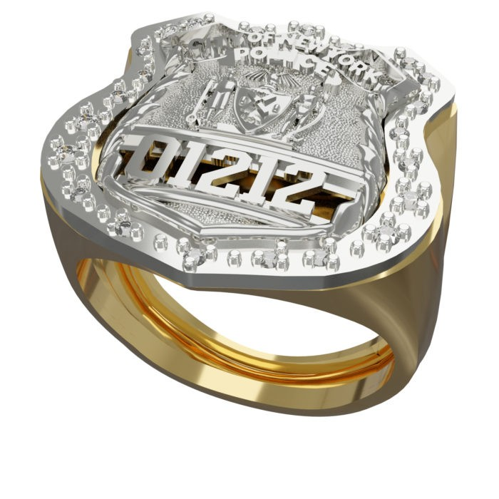 Mens NYPD PO Shield Ring Surrounded by Diamonds 3