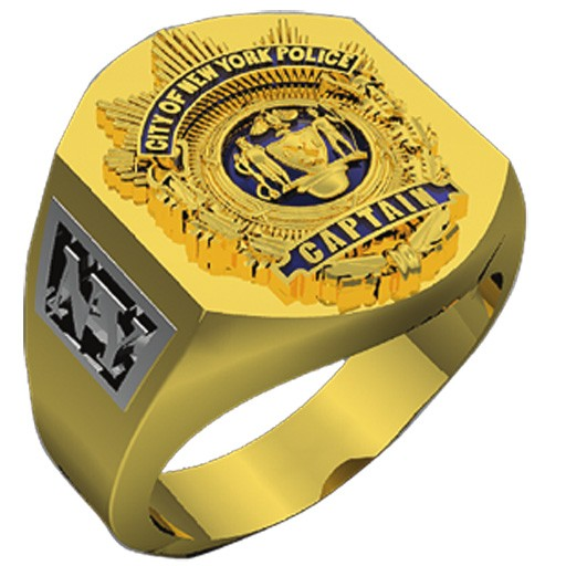 Mens NYPD Captain Deep Carved Shield Ring 2