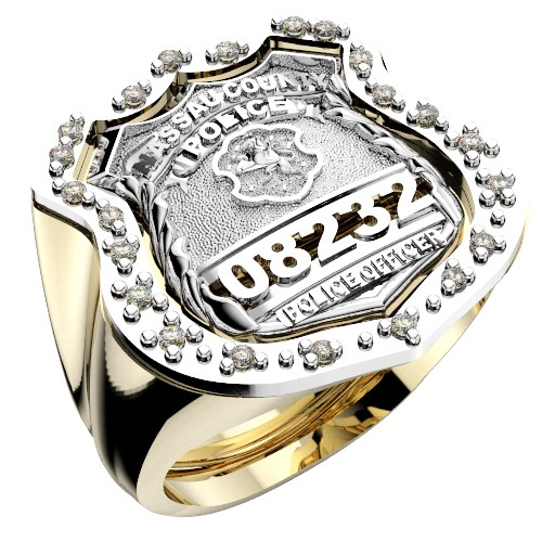 Mens Nassau County PD PO Shield Ring Surrounded by Diamonds 1