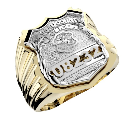 Mens Nassau County PD PO Ribbed Shape of the Shield Ring 1
