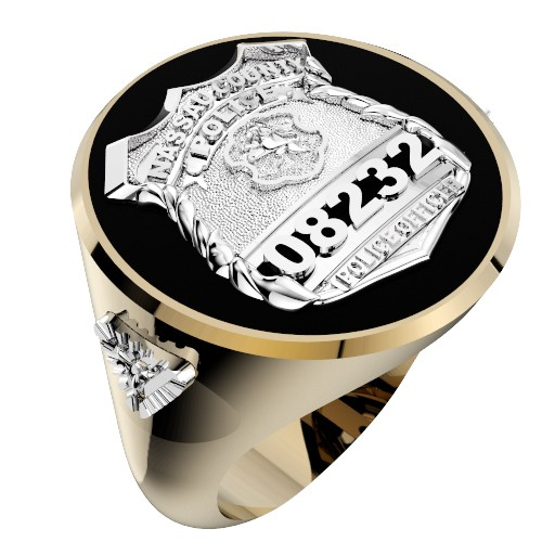 Mens Nassau County PD PO Black ONYX Oval Ring Diamond Accents 1