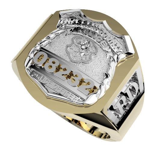 Mens Nassau County PD PO Deep Carved Ring Accented Sides 1