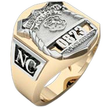 Mens Nassau County PD PO Deep Carved Ring Accented Sides 2