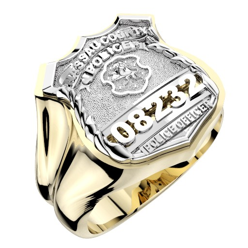 Mens Nassau County PD PO Shape of the Shield Ring 1