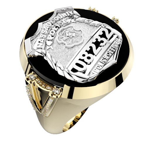 Mens Nassau County PD PO Black ONYX Oval Ring Diamond Accents Down Side 1