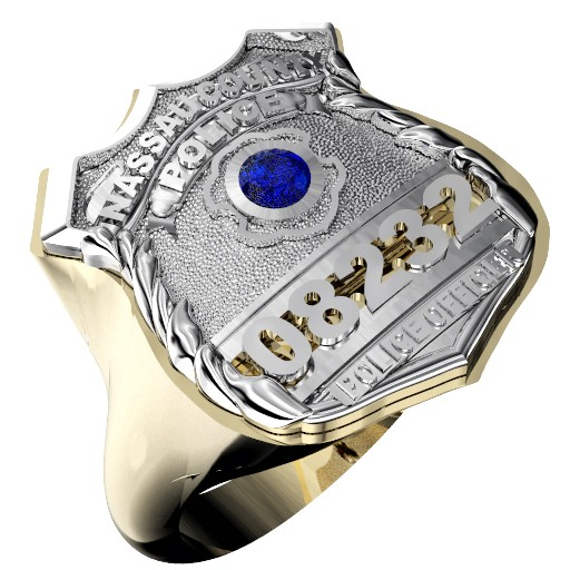 Womens Nassau County PD PO Shield Ring Syn. Blue Sapphire Center Stone 1