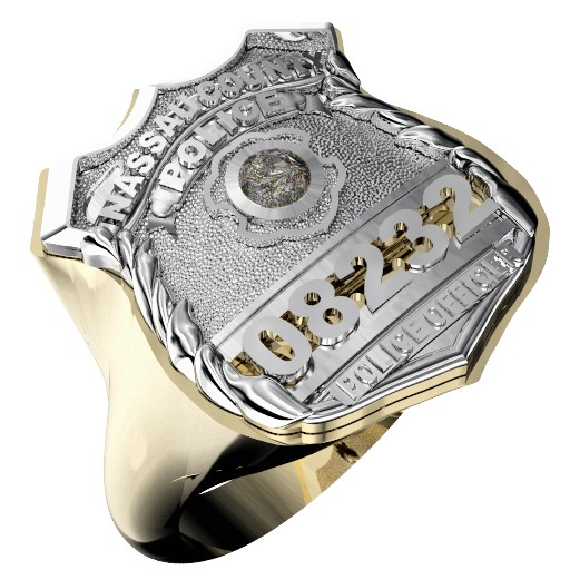 Womens Nassau County PD PO Shield Ring Diamond Center Stone 1