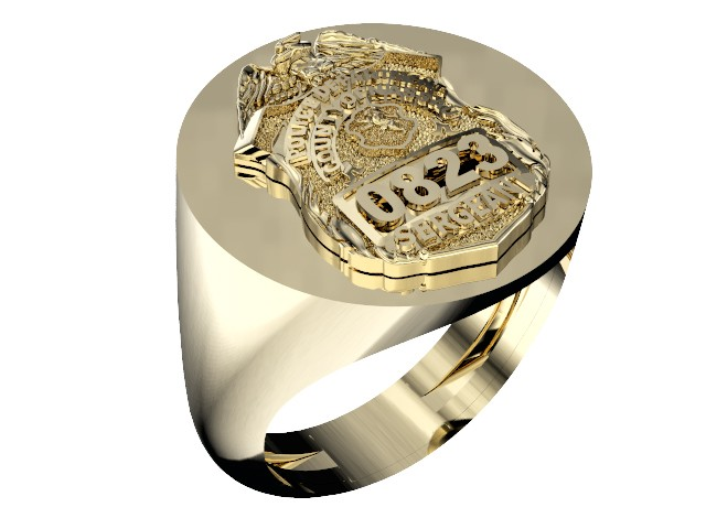 Mens Nassau County PD Sergeant Shield Ring 1