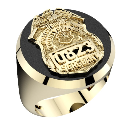 Mens Nassau County PD Sergeant Shield Black ONYX Oval Ring 1
