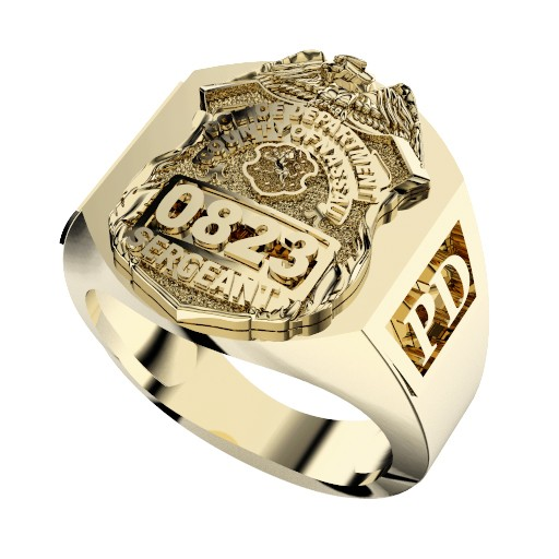 Mens Nassau County PD Sergeant Deep Carved Rectangle Ring 1
