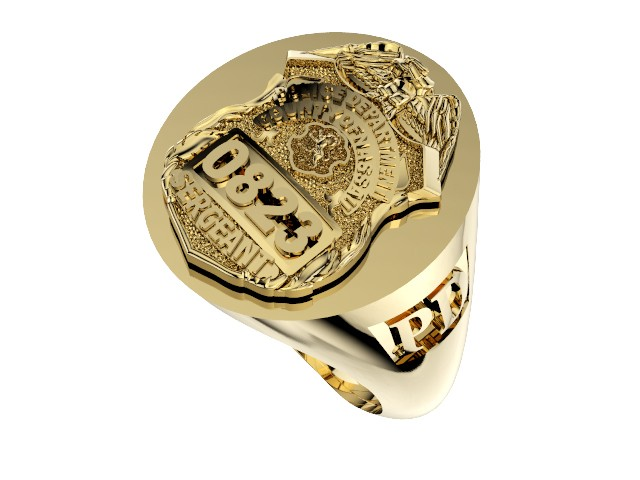 Mens Nassau County PD Sergeant Deep Carved Oval Ring 1