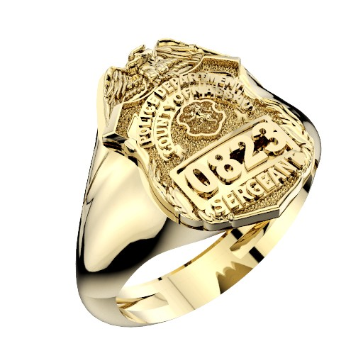 Mens Nassau County PD Sergeant Shape of the Shield Ring 1