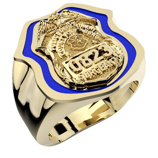 Mens Nassau County PD Sergeant Shield Ring Thin Blue Line Royal Blue Enamel 1