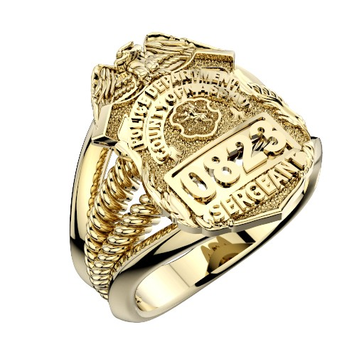 Womens Nassau County PD Sergeant Shield Ring Ribbed Delicate Side Design 1