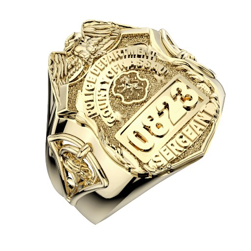 Womens Nassau County PD Sergeant Shield Ring  Detailed Rose Design Side Accent 1