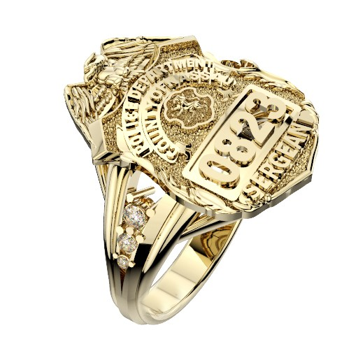 Womens Nassau County PD Sergeant Shield Ring Delicate Side Diamond Accents 1