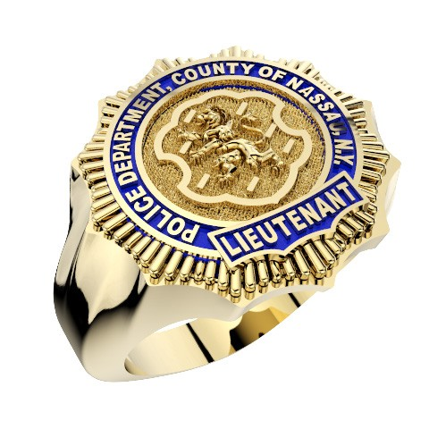 Mens Nassau County PD Lieutenant Shape of the Shield Ring 1