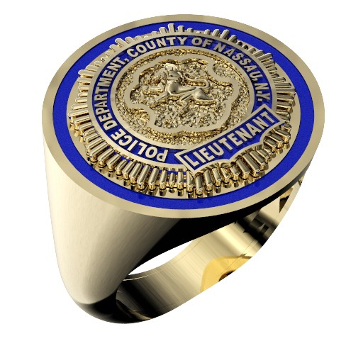 Mens Nassau County PD Lieutenant Round Thin Blue Line Ring 1