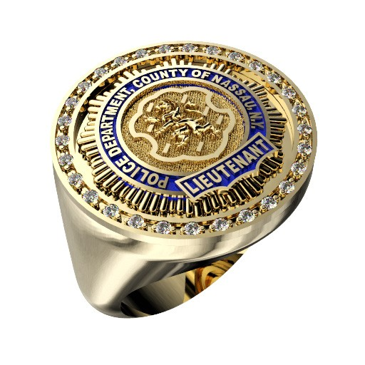 Mens Nassau County PD Lieutenant Round Diamond Edge Ring 1