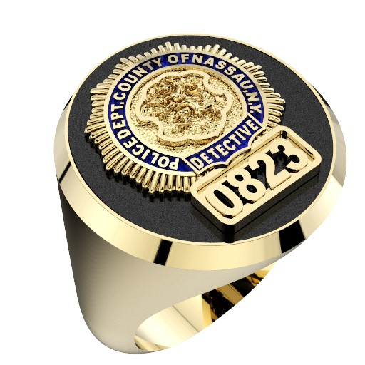 Mens Nassau County PD Detective Black ONYX Oval Ring 1