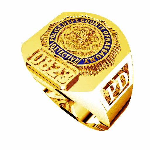 Mens Nassau County PD Detective Deep Carved Ring 1