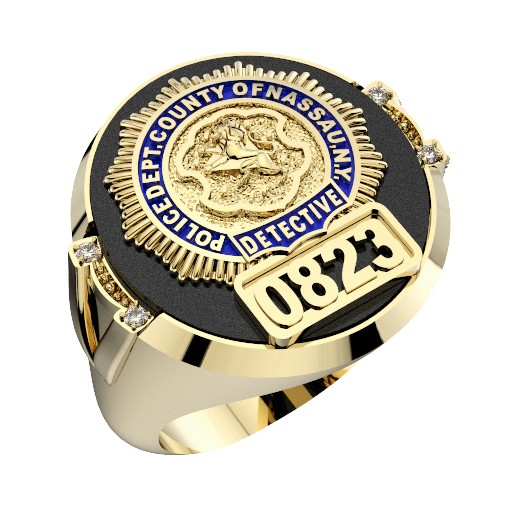 Mens Nassau County PD Detective Black ONYX Oval Ring with Diamond Accents 1