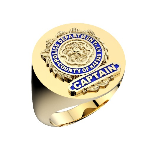 Mens Nassau County PD Captain Oval Signet Shield Ring 1