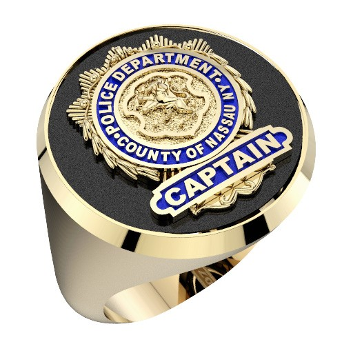 Mens Nassau County PD Captain Shield Black Onyx Oval Ring 1