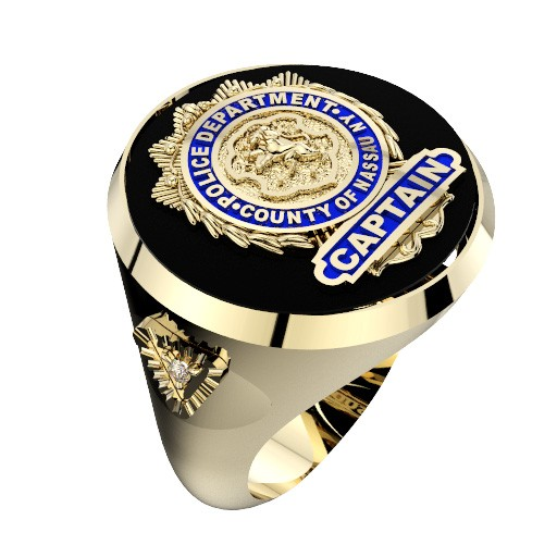 Mens NCPD Captain Ring with Side Diamond 1