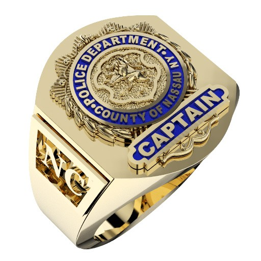 Mens Nassau County PD Captain Deep Carved Shield Ring 1