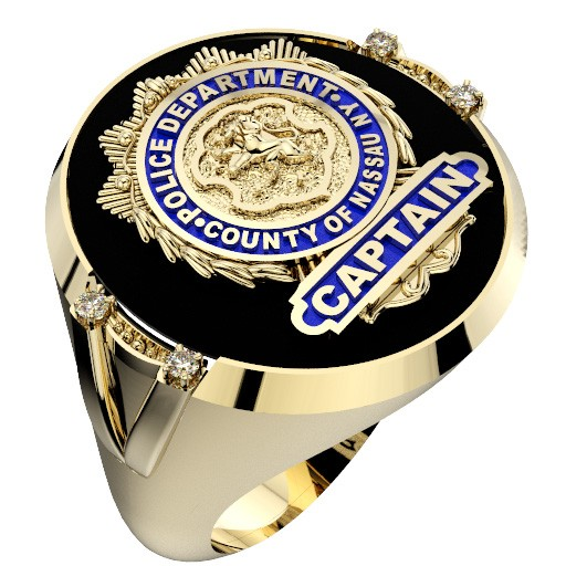 Mens Nassau County PD Captain Shield Black ONYX Oval Ring with Framed Diamond Accents 1