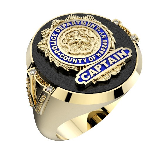 Mens NCPD Captain Ring with Diamonds 1