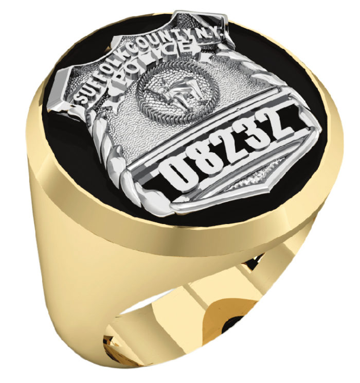 Mens Suffolk County PD PO Black ONYX Oval Ring 1