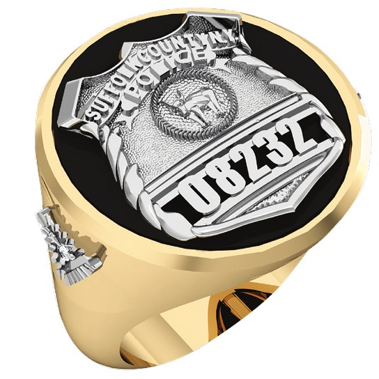 Mens Suffolk County PD PO Black ONYX Oval Ring Diamond Accents 1