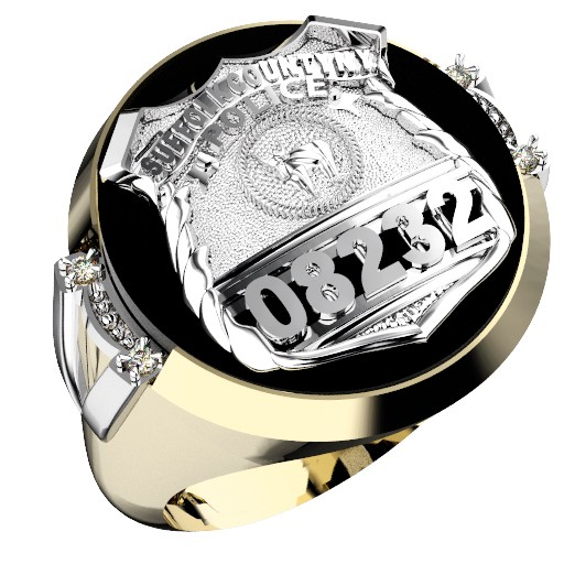 Mens Suffolk County PD PO Black ONYX Oval Ring Framed Side Diamonds 1