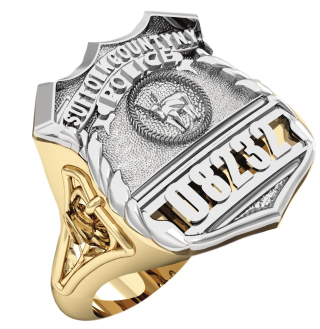 Womens Suffolk County PD PO Shield Ring Detailed Rose Design Side Accent 1