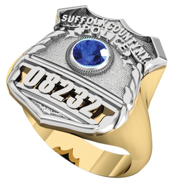 Womens Suffolk County PD PO Shield Ring Syn. Blue Sapphire Center Stone 1