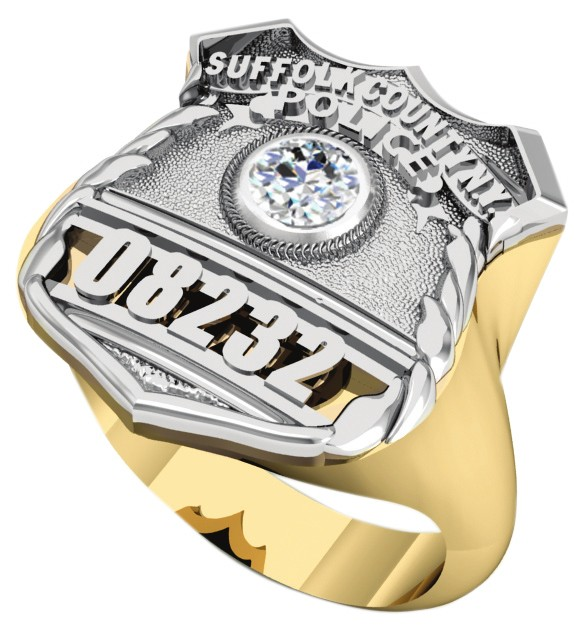 Womens Suffolk County PD PO Shield Ring Diamond Center Stone 1