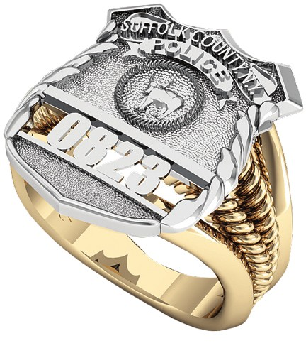 Womens Suffolk County PD PO Shield Ring Ribbed Delicate Side Design 1