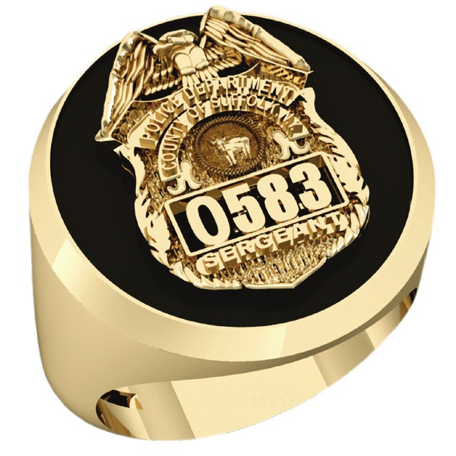 Mens Suffolk County PD Sergeant Shield Black ONYX Oval Ring 1