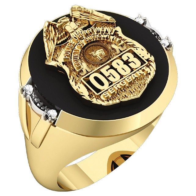 Mens Suffolk County PD Sergeant Black ONYX Oval Ring Framed Diamond Accent 1