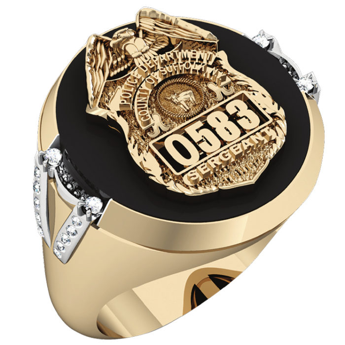 Mens Suffolk County PD Sergeant Black ONYX Oval Ring Diamond Accent Down Side 1
