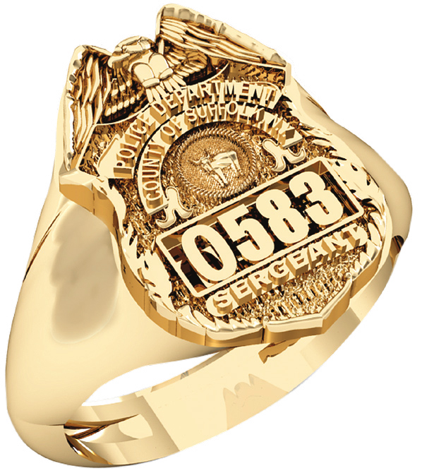 Mens Suffolk County PD Sergeant Shape of the Shield Ring 1