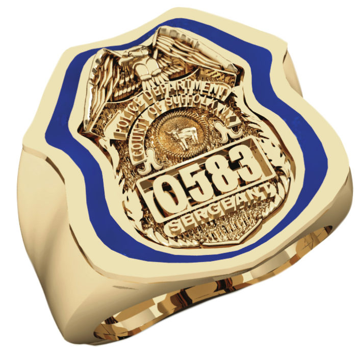 Mens Suffolk County PD Sergeant Shield Ring Thin Blue Line Royal Blue Enamel 1