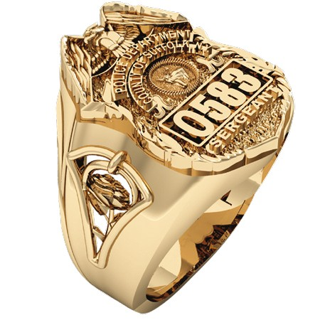 Womens Suffolk County PD Sergeant Shield Ring  Detailed Rose Design Side Accent 1