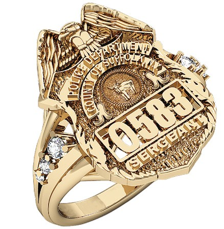 Womens Suffolk County PD Sergeant Shield Ring Delicate Side Diamond Accents 1