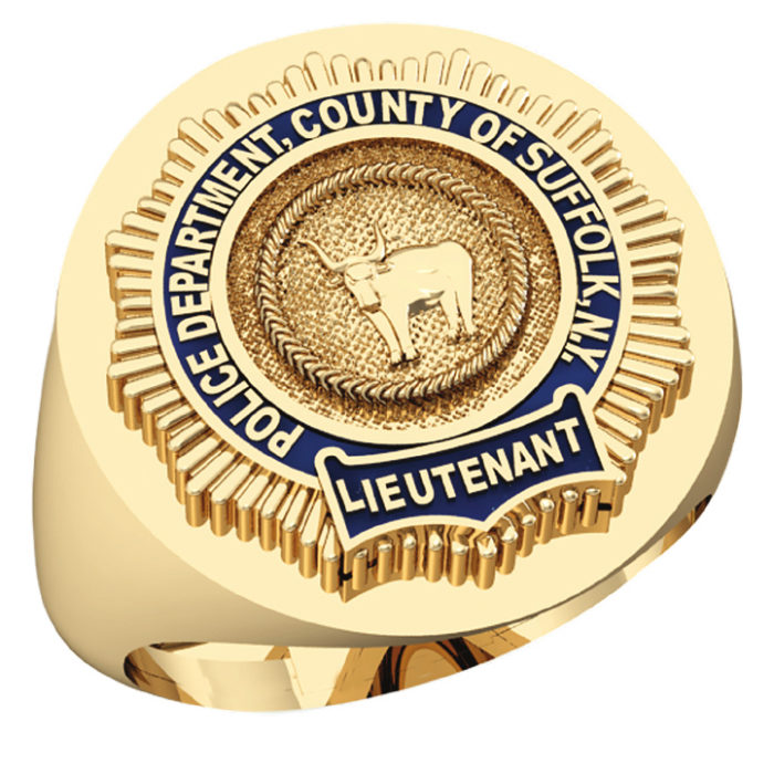 Mens Suffolk County PD Lieutenant Round Signet Shield Ring 1