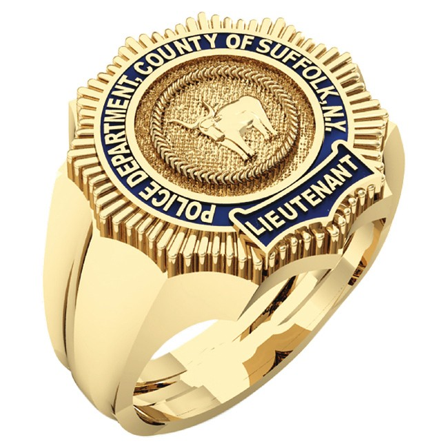 Mens Suffolk County PD Lieutenant Shape of the Shield Ring 1
