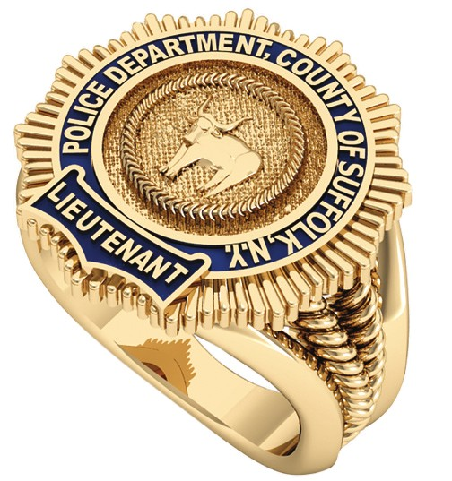 Womens Suffolk County PD Lieutenant Ribbed Split Shank Ring 1