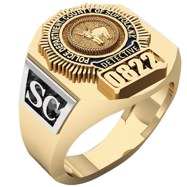 Mens Suffolk County PD Detective Deep Carved Ring 1